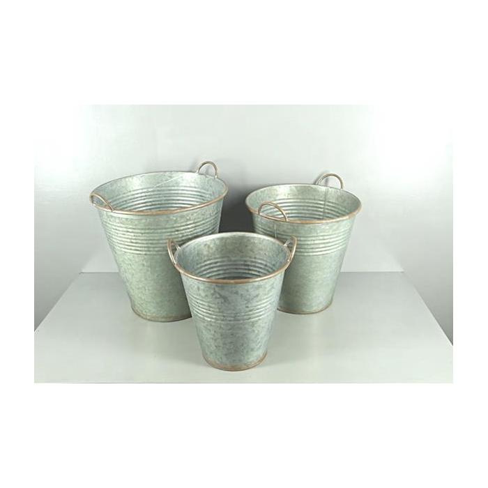 <h4>Planter Bucket Zinc S/3</h4>