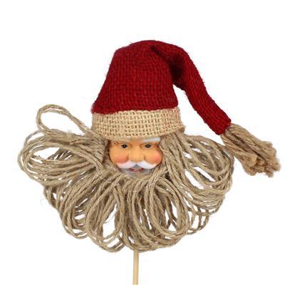 <h4>Bijsteker Kerstman hoofd 12x12cm+8cm stok</h4>