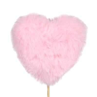 <h4>Bijsteker hart pluche 9x9+50cm stok roze</h4>