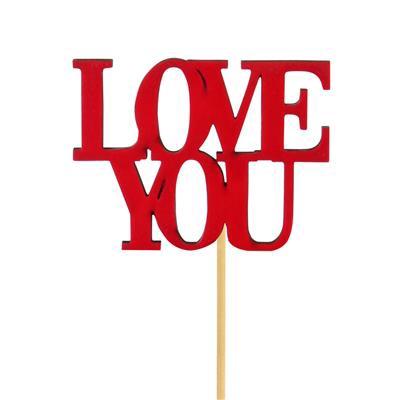 <h4>Pique Love You bois 8x9cm+50cm bâton rouge</h4>