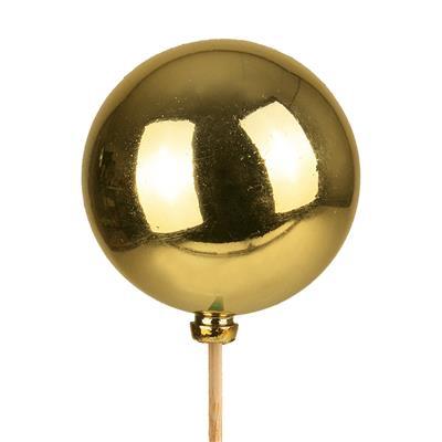 <h4>Bijsteker kerstbal glans Ø5cm+12cm stok goud</h4>