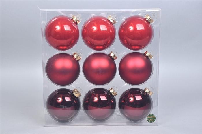 <h4>Glasbal Christmas Red 100mm Per 9</h4>