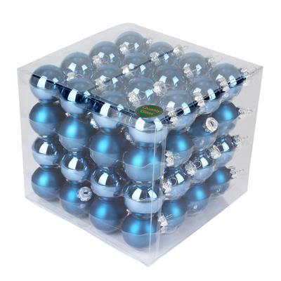 <h4>Boules de nöel en tube 40mm ass Steel Blue 64pcs</h4>