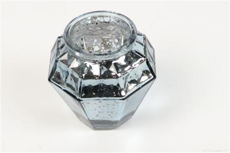 <h4>SHIMMER ETCHED TLIGHT GLASS ROUND H9.0 D9.0 LIGHT BLUE 861824050</h4>