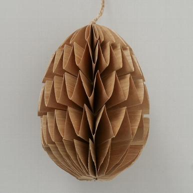 <h4>Decorative pendant Kassia, Egg, With hanger, H 15,00 cm, D 12,00 cm paper recycled natural</h4>
