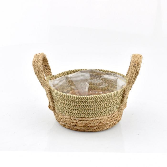 <h4>Baskets Straw+hessian tray d18*8.5cm</h4>