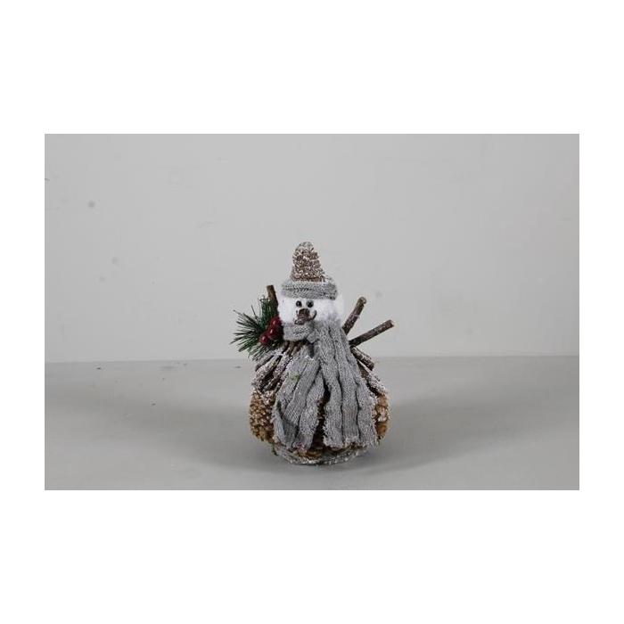 <h4>Fig. Snowman Grey Scarf H:20cm</h4>