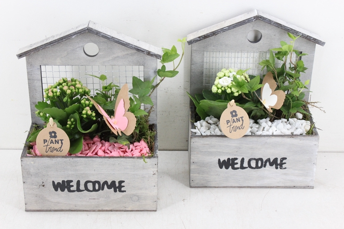 <h4>arr. PL - Hout huis welcome - roze/wit</h4>