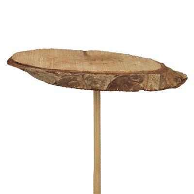 <h4>Bijsteker houten schijf ovaal 9cm + 12cm stok</h4>