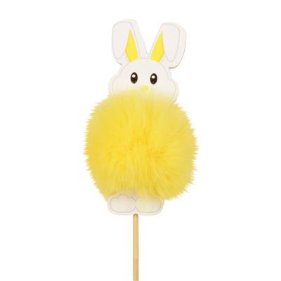 <h4>Pique lapin Fluffy 9x4cm+50cm bâton jaune</h4>