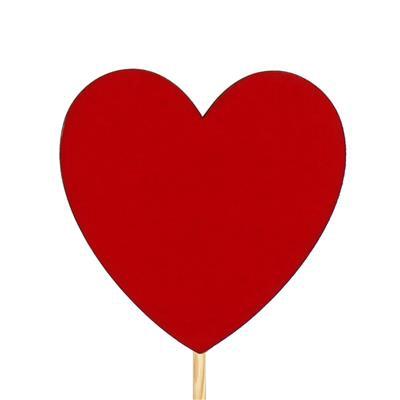 <h4>Bijsteker hart velvet hout 8x8cm+12cm stok rood</h4>