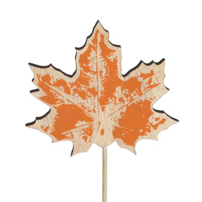 <h4>Bijsteker blad hout 8x7cm+12cm stok oranje</h4>