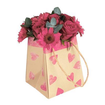 Bag Sweetheart kraft 12/12x15/15xH18cm pink