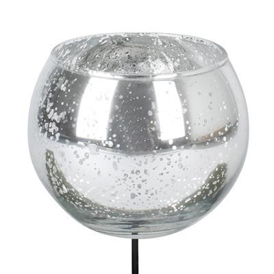 <h4>Waxinelicht glas antique rond zilver 8x10cm op st</h4>