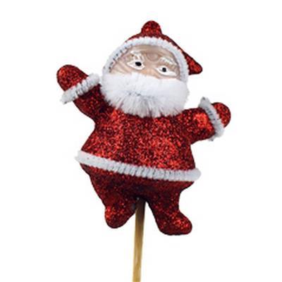 <h4>Noël Santa 7x6cm sur tige 10cm rouge</h4>