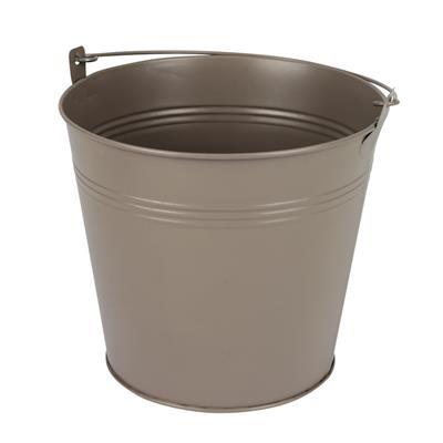 <h4>Bucket Sevilla zinc Ø17,8xH15,8cm -ES17 taupe matt</h4>