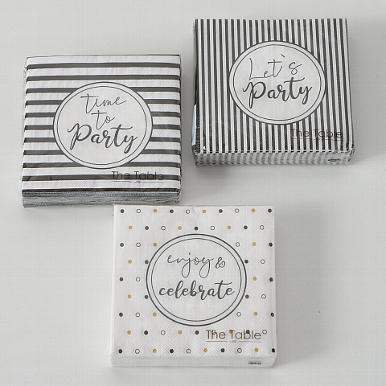 <h4>Cocktail napkins Party, 20 p., 3 ass., Black, White, Paper paper colour-mix</h4>