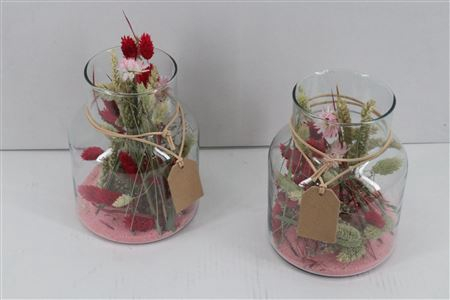 <h4>Arr. Dried Flowers Glass Milano Roze</h4>