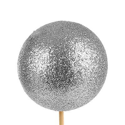 <h4>Bijsteker Kerstbal glitter Ø6cm+50cm stok zilv 100</h4>