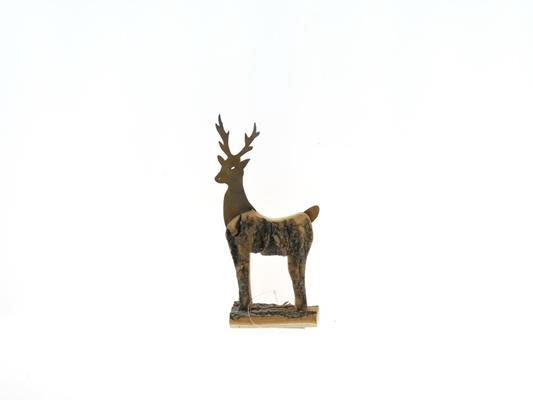 Fig. Wood+mtl. Deer 25x14cm