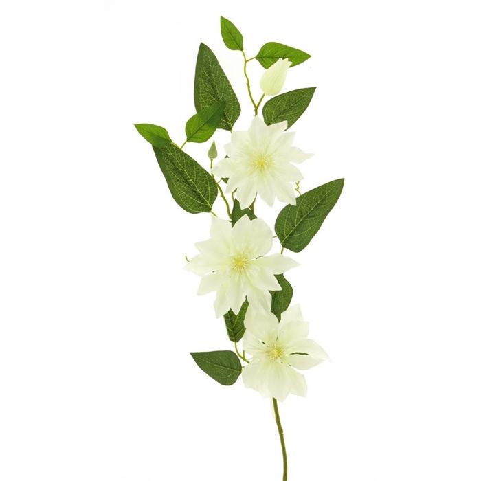 <h4>SILK FLOWERS - CLEMATIS SPRAY CREAM 81CM</h4>
