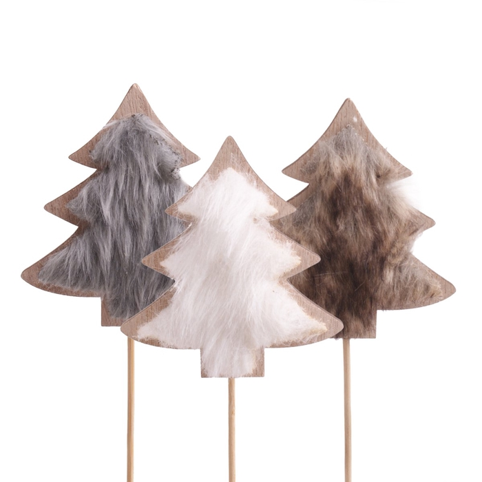 <h4>Christmas sticks 10cm Tree furry 8.5cm ass.</h4>