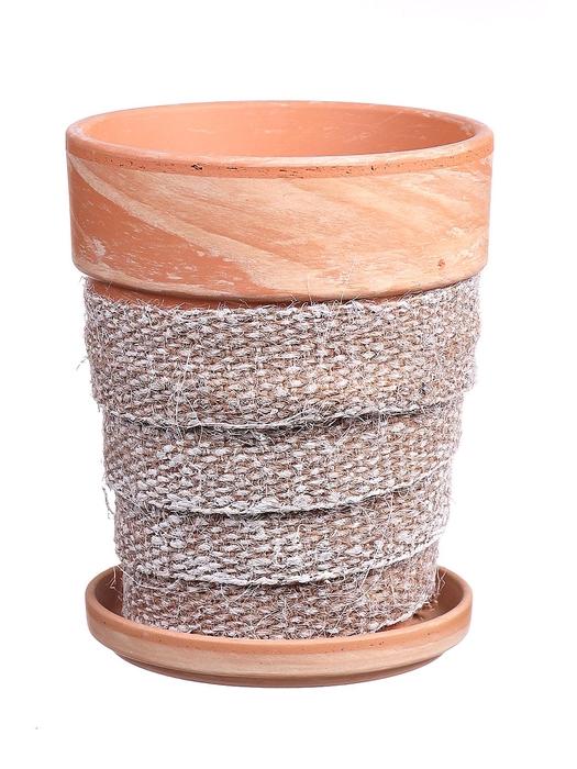 <h4>DF010057737 - Pot+saucer Lilo+jute white brsh d11.6cm</h4>