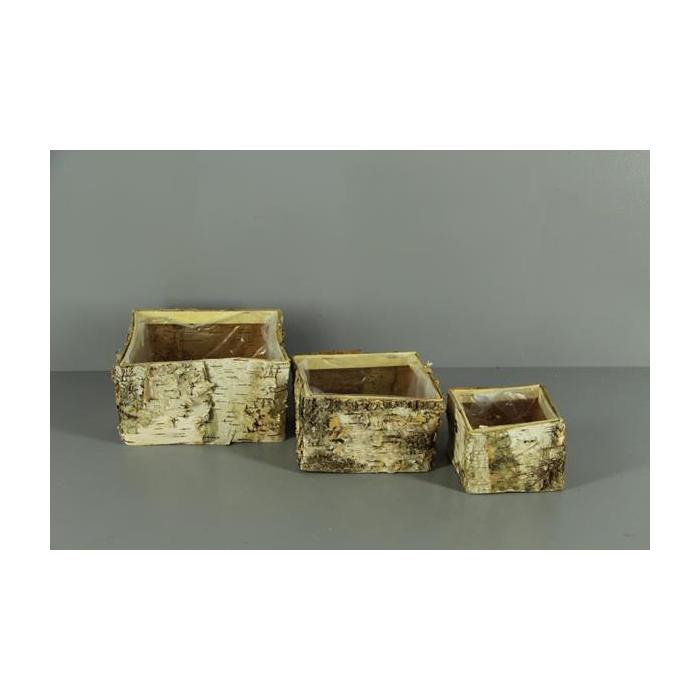 <h4>Planter Birch Bark Square S/3</h4>