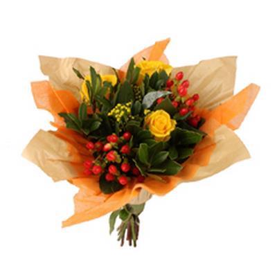 <h4>Bouquet cover Square kraft+non-woven Ø32cm orange</h4>