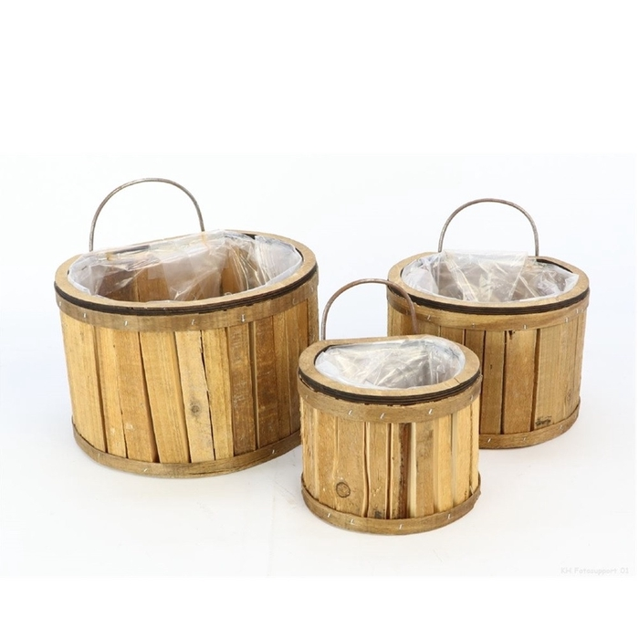 <h4>Hout Barrel hangpot S/3 26*23*16cm</h4>
