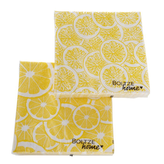 <h4>Napkins Lemon, 20 p., 2 ass., All-round printing, Food & Drink, White, Yellow, Paper paper colour-mix</h4>