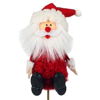 <h4>Père Noël heureux sur tige 20cm rouge</h4>