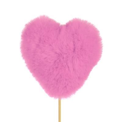 <h4>Pique coeur peluche 9x9cm+50cm bâton rose</h4>
