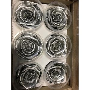 Roos XL metal zilver