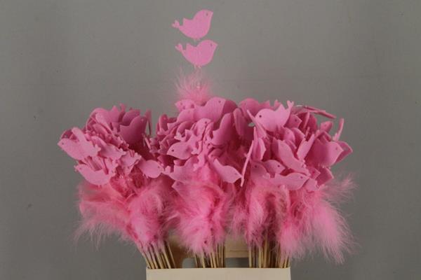 <h4>Stick Feather+prl+bird L.pink</h4>