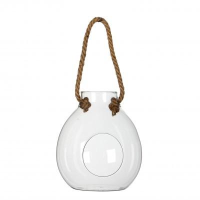 <h4>Glass Ball vase+rope d12.5*15cm</h4>