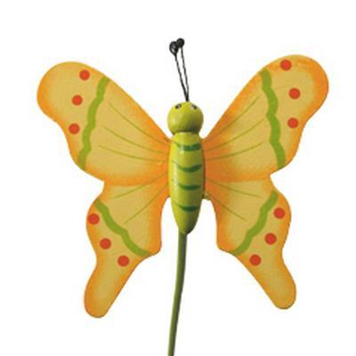 <h4>Pique Papillon flying bois 7x8cm+bâton 50cm jaune</h4>