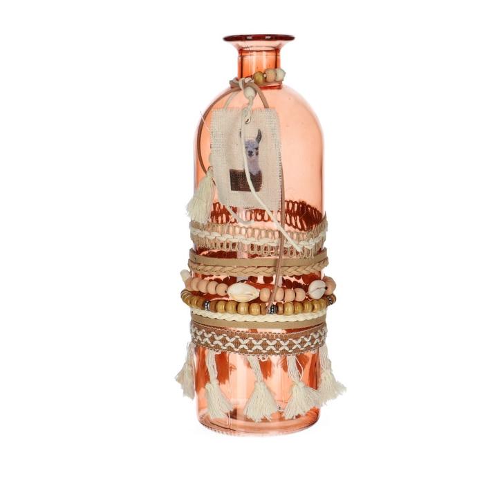<h4>Glass colour Hippie Bottle d9*26cm</h4>