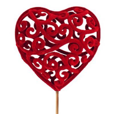<h4>Tiges Heartroque 6cm sur tige 12cm rouge</h4>