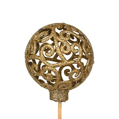 <h4>Bijsteker Balroque Ø6cm+50cm stok glitter goud</h4>