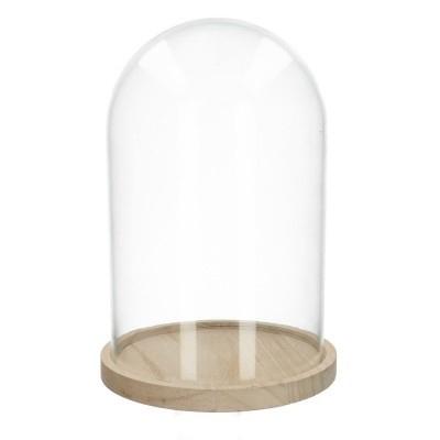 <h4>Glass Cloche+wood d15*24cm</h4>