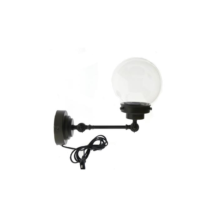 <h4>Lamp Wall Mtl/glass Black</h4>