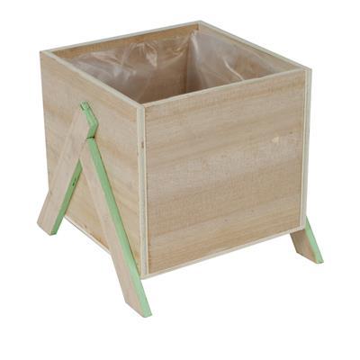 <h4>Pot Alvie en bois 13.5x13.5xH12cm sur pied vert</h4>