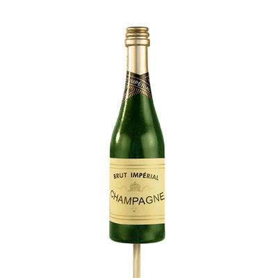 <h4>Bijsteker Champagnefles 13,5x4cm+50cm stok groen</h4>