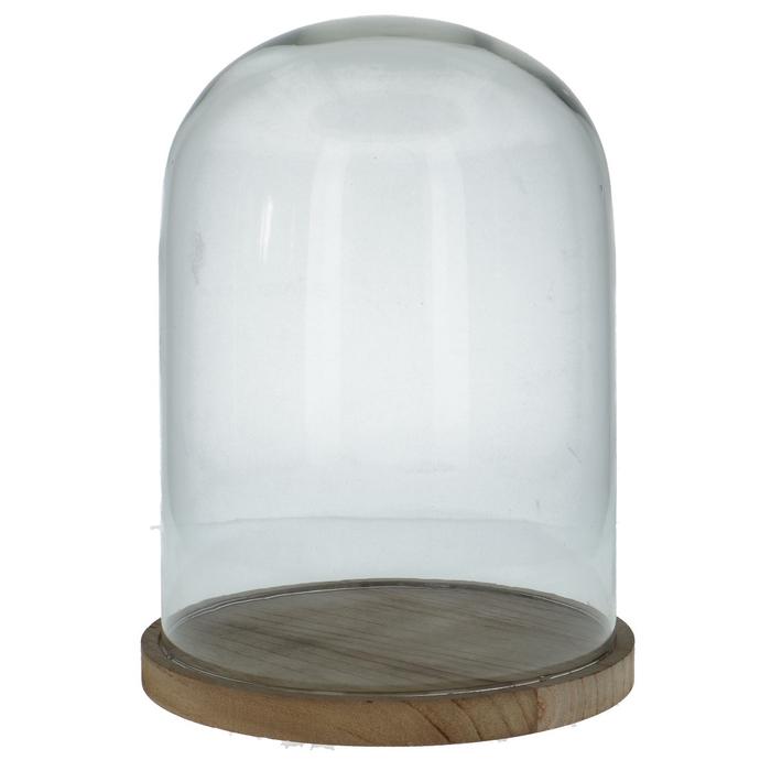 <h4>Glass Cloche+wood d22*30cm</h4>
