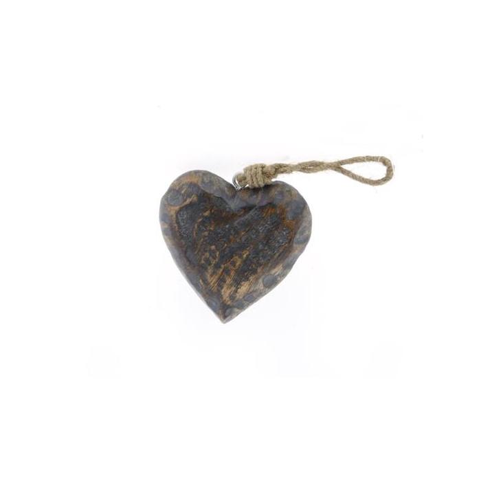 <h4>Heart Wood  Hang 12cm Greywash</h4>