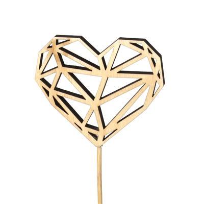 <h4>Bijsteker hart Shaped hout 8x9,5cm+12cm stok nat.</h4>