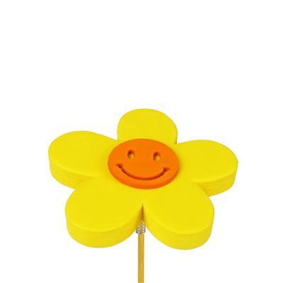 <h4>Bijsteker bloem Happy foam 7cm+ 50cm stok geel</h4>