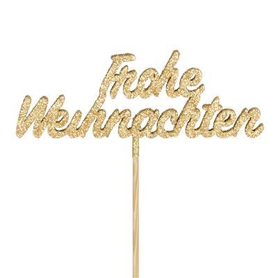 <h4>Pique Frohe Weihnachten bois 13cm+50cm bâton or</h4>