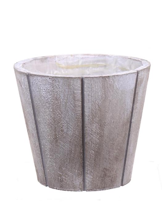 <h4>DF550090167 - Pot wood Arnelle d16xh13 white wash</h4>